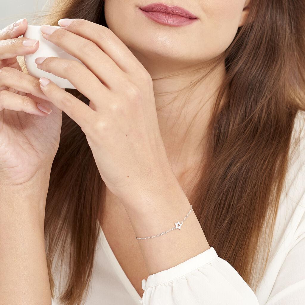 Bracelet Pierine Argent Blanc Oxyde De Zirconium - Bijoux Etoile Femme   Histoire d'Or