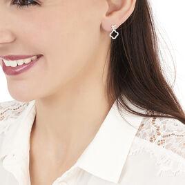 Bijoux D'oreilles Emilia Or Blanc Diamant - Boucles d'Oreilles Trèfle Femme | Histoire d'Or