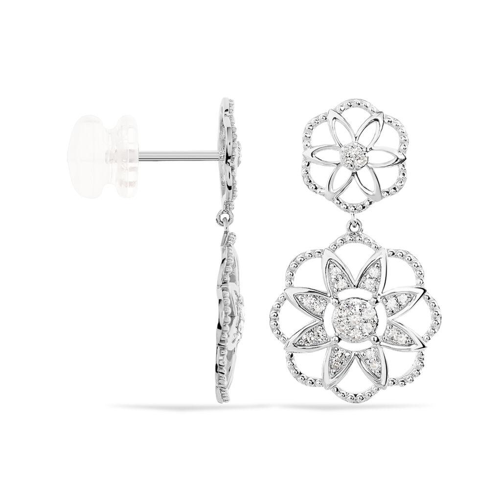 Boucles D'oreilles Pendantes Rozenn Or Blanc Diamant - Boucles d'oreilles pendantes Femme | Histoire d'Or