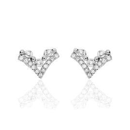 Boucles D'oreilles Puces Andria Or Blanc Diamant - Clous d'oreilles Femme | Histoire d'Or