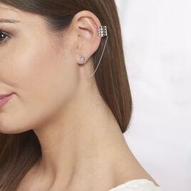 Bijoux D'oreilles Trina Argent Rhodie Chaine Pastille - Boucles d'oreilles fantaisie Femme | Histoire d'Or