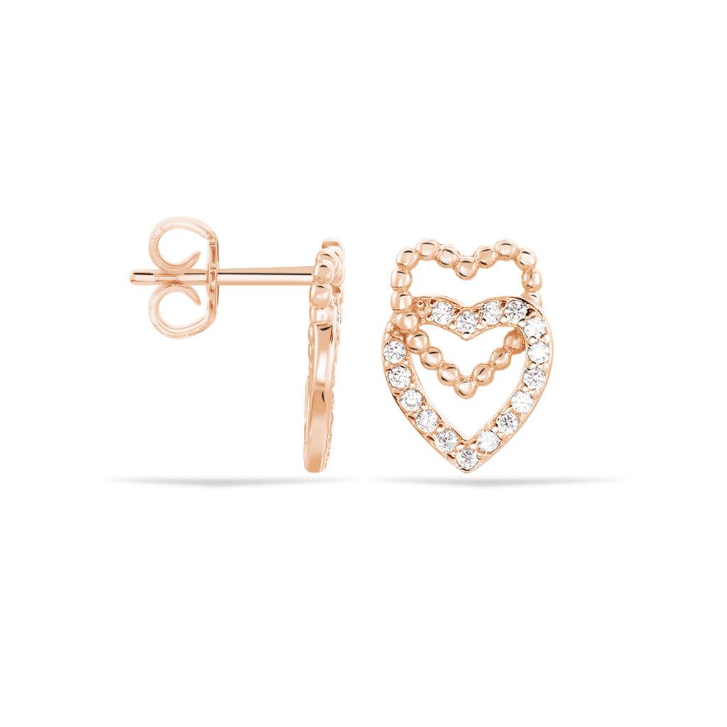 Boucles D'oreilles Puces Ottavia Argent Rose Oxyde De Zirconium - Boucles d'Oreilles Coeur Femme | Histoire d'Or