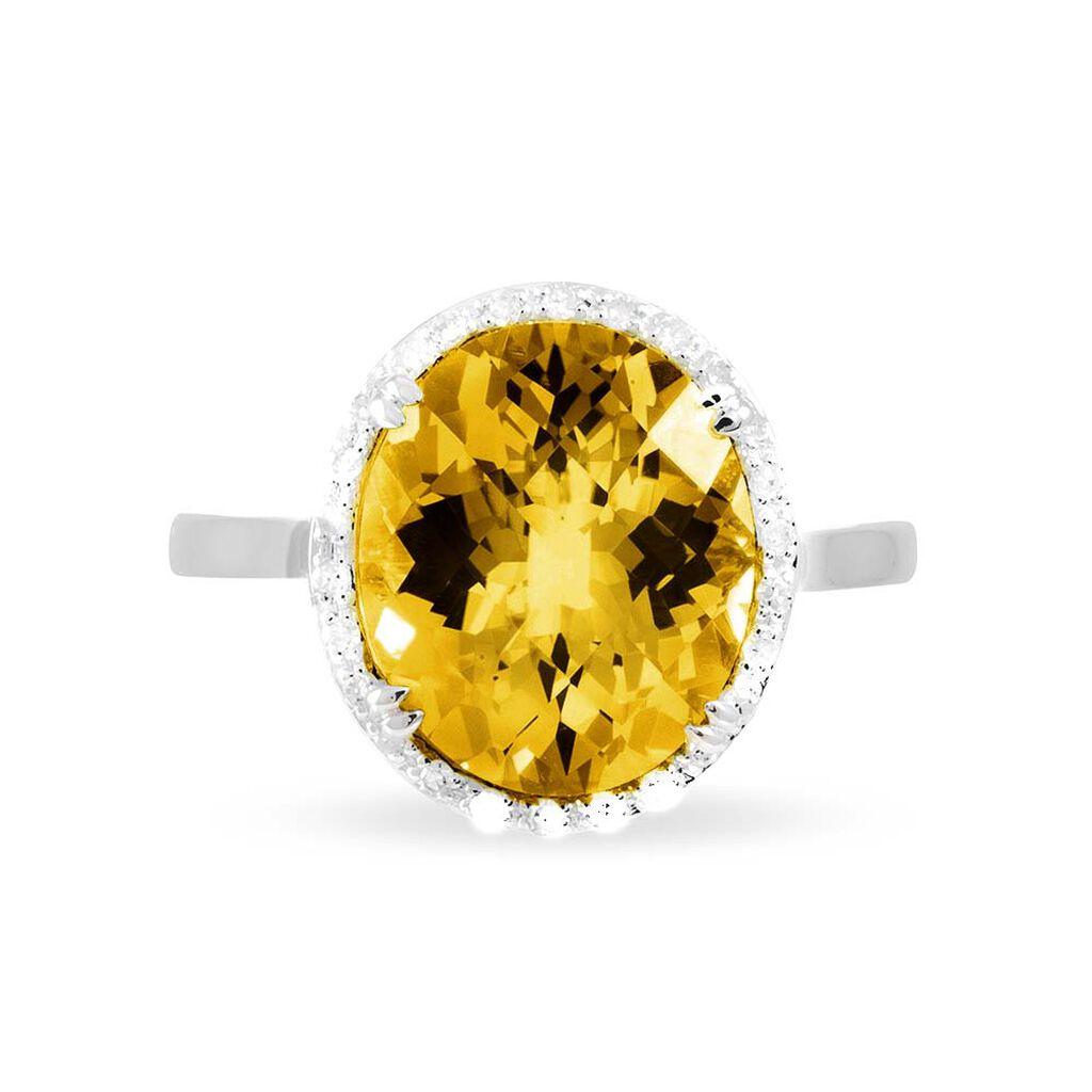 Bague Anna Or Blanc Citrine Et Diamant - Bagues avec pierre Femme | Histoire d'Or