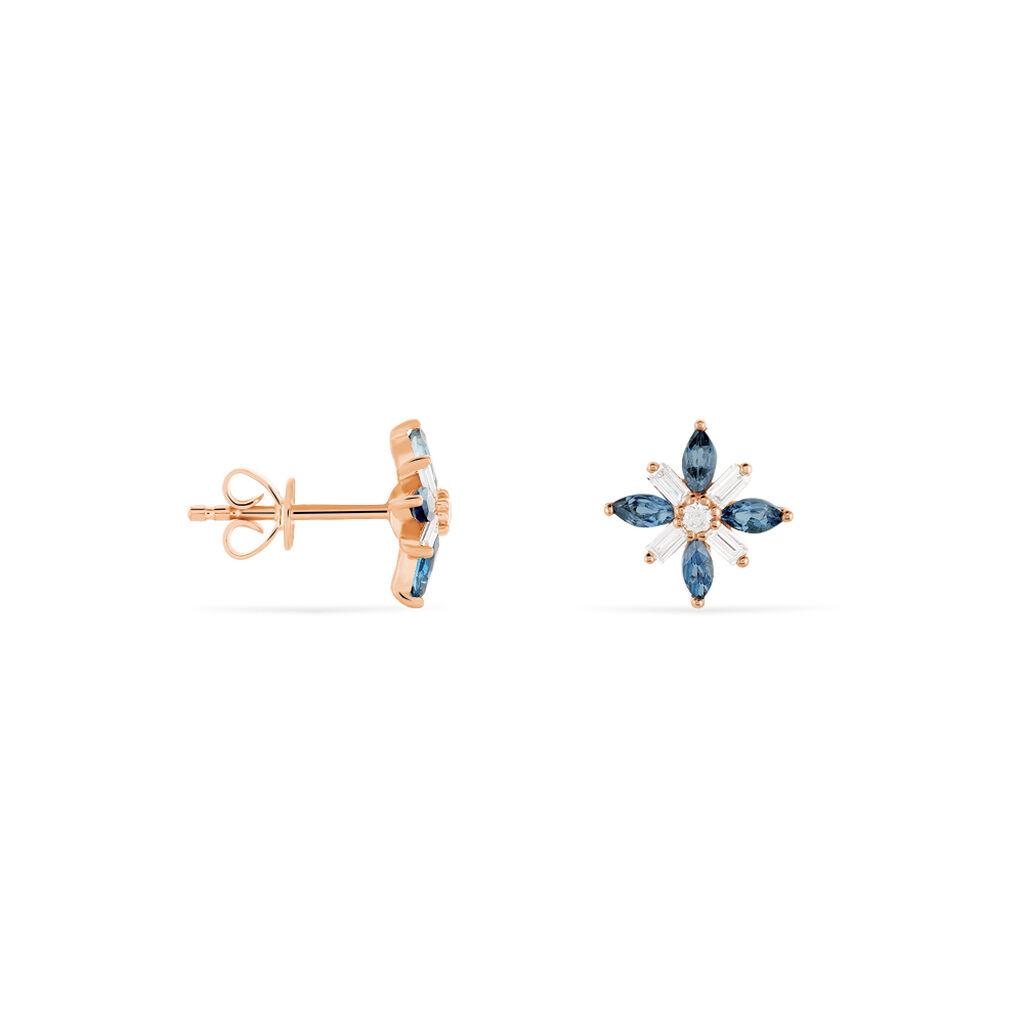 Boucles D'oreilles Puces Anabele Or Rose Topaze Et Oxyde De Zirconium - Clous d'oreilles Femme   Histoire d'Or