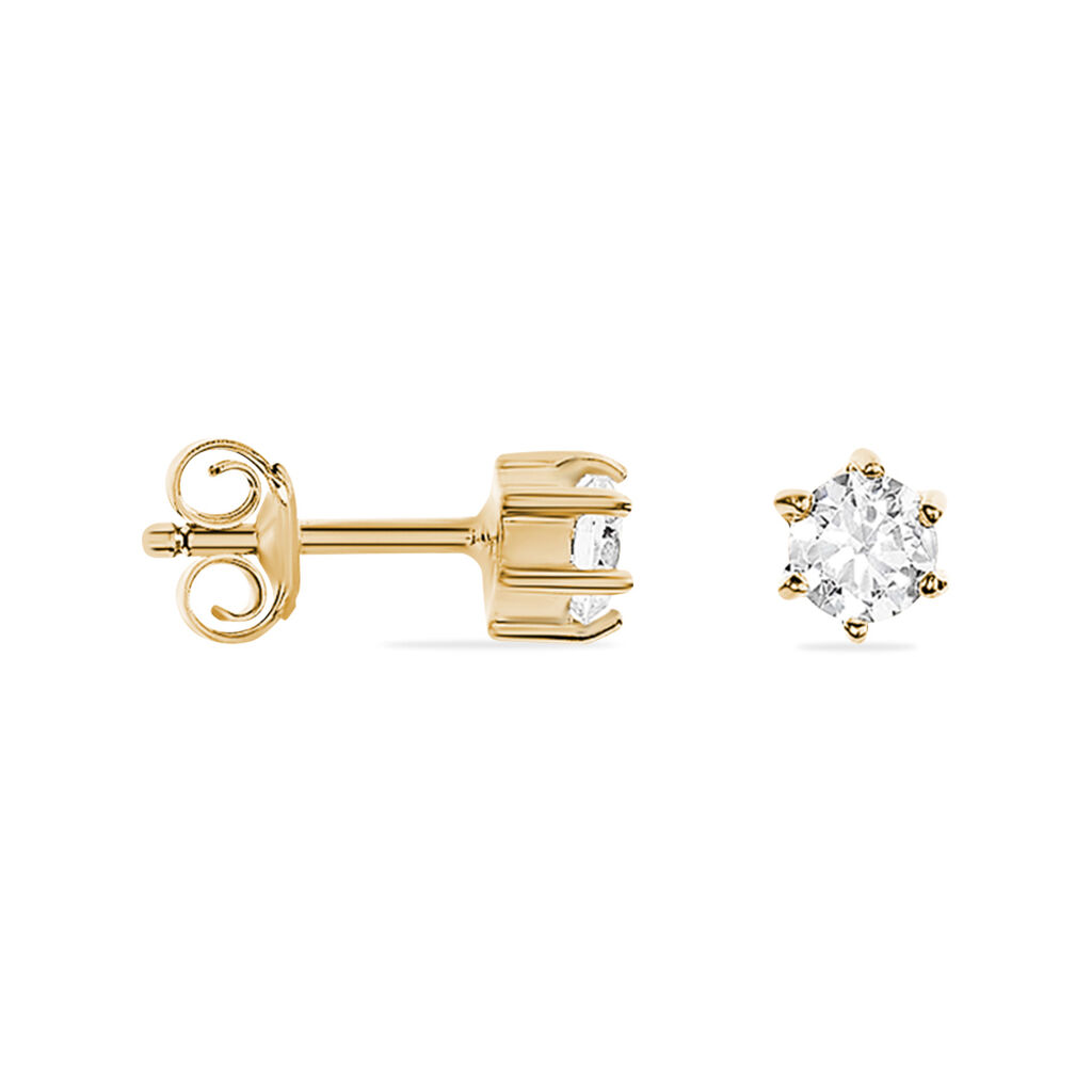 Boucles D'oreilles Puces Yléna Plaque Or Jaune Oxyde De Zirconium - Boucles d'Oreilles Etoile Femme   Histoire d'Or