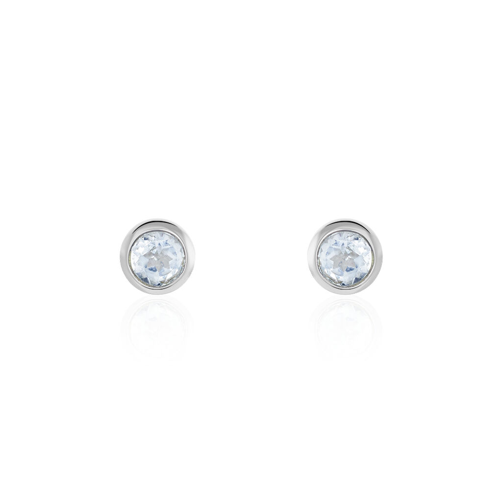 Boucles D'oreilles Puces Edy Serti Clos Or Blanc Topaze - Clous d'oreilles Femme | Histoire d'Or