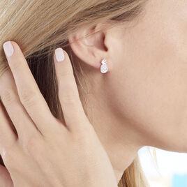Boucles D'oreilles Puces Harold Argent Blanc Oxyde De Zirconium - Boucles d'oreilles fantaisie Femme   Histoire d'Or