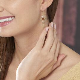 Boucles D'oreilles Pendantes Lona Argent Jaune Ambre - Boucles d'Oreilles Attrape rêves Femme | Histoire d'Or