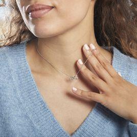 Collier Irmela Or Blanc Diamant - Colliers Coeur Femme   Histoire d'Or