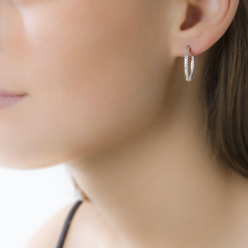 Créoles Agathe Diamantees Argent Blanc - Boucles d'oreilles créoles Femme   Histoire d'Or
