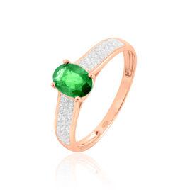 Bague Crista Or Rose Emeraude Et Diamant - Bagues avec pierre Femme   Histoire d'Or