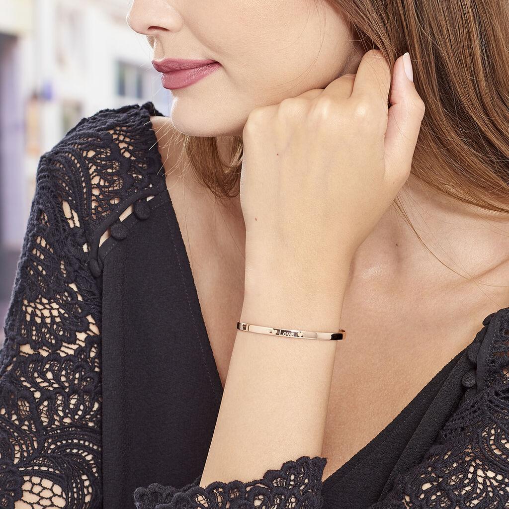 Bracelet Jonc Dreaming Argent Rose - Bracelets Coeur Femme   Histoire d'Or