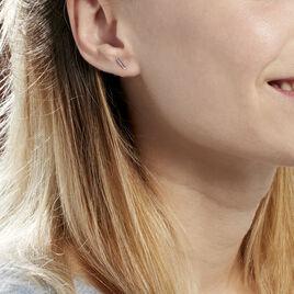 Boucles D'oreilles Puces Birati Argent Blanc - Boucles d'oreilles fantaisie Femme | Histoire d'Or