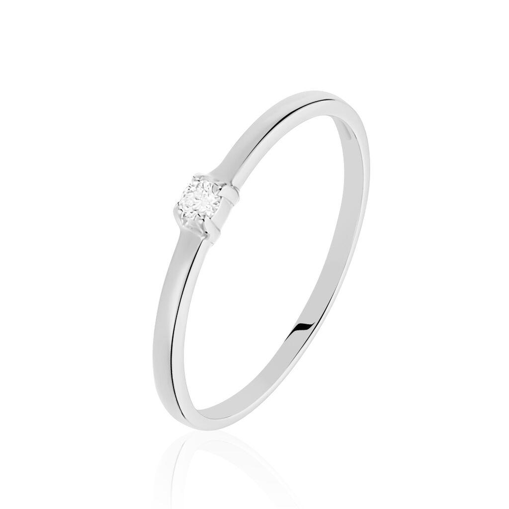 Bague Solitaire Superposition Or Blanc Diamant - Bagues solitaires Femme | Histoire d'Or