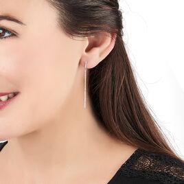 Boucles D'oreilles Puces Riviere Or Blanc Diamant - Boucles d'oreilles pendantes Femme | Histoire d'Or