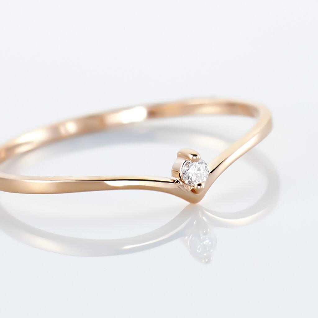 Bague Maye Or Rose Diamant - Bagues avec pierre Femme   Histoire d'Or