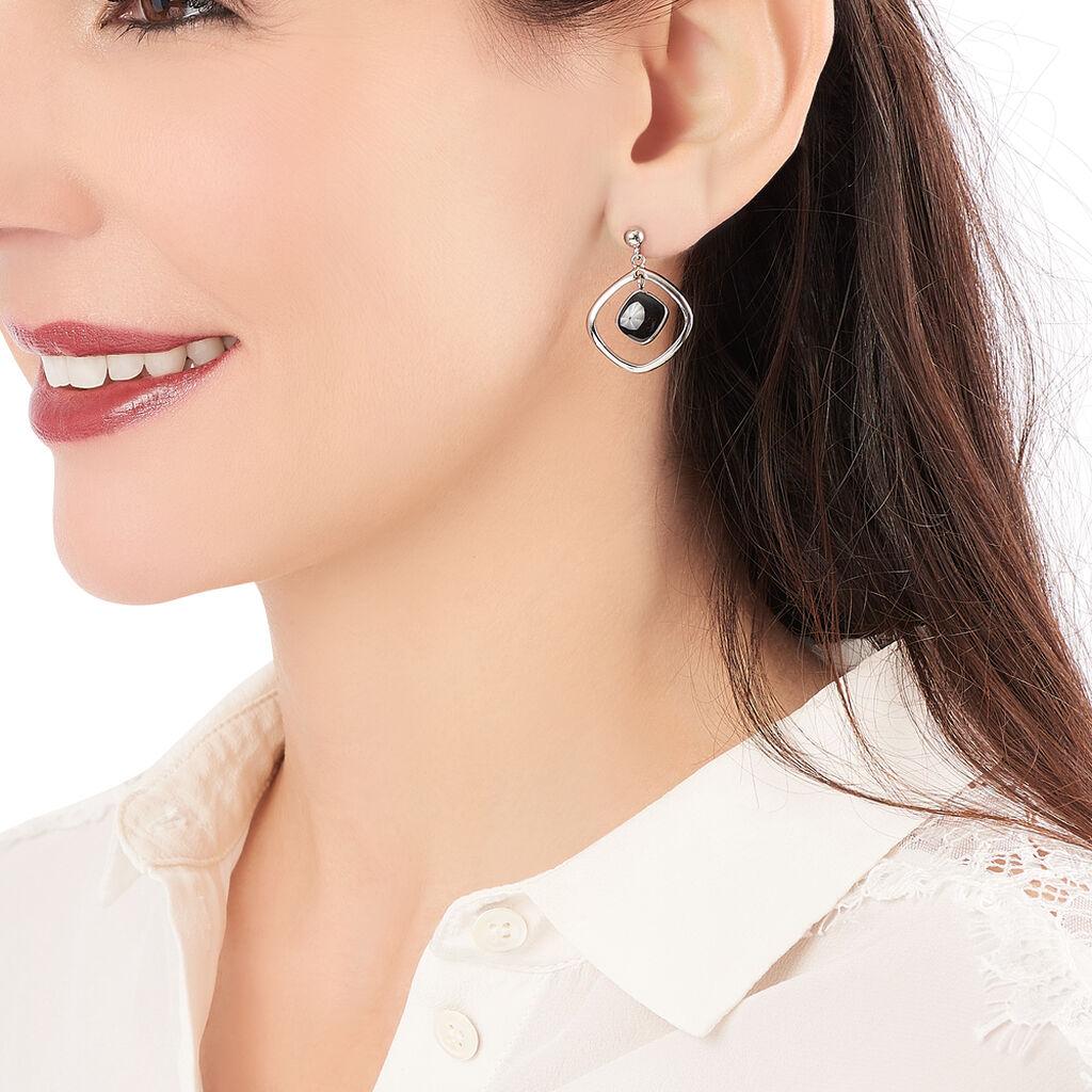Boucles D'oreilles Pendantes Hayata Acier Blanc - Boucles d'oreilles fantaisie Femme | Histoire d'Or