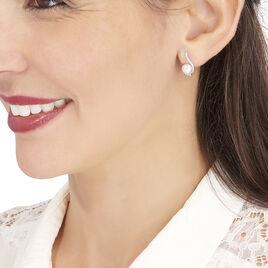 Boucles D'oreilles Puces Cassiopea Or Blanc Oxyde Et Perle De Culture - Clous d'oreilles Femme   Histoire d'Or
