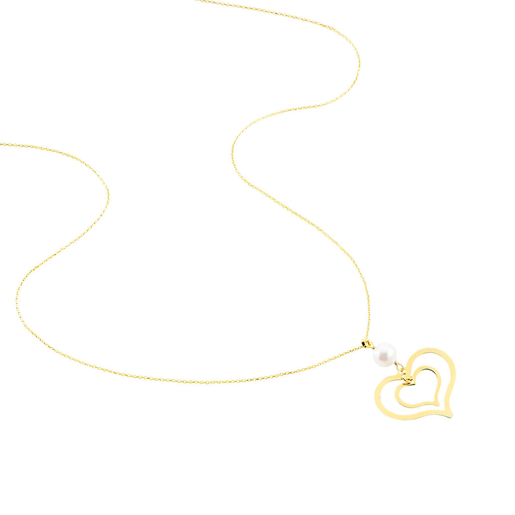 Collier Double Ajoure Or Jaune Perle De Culture