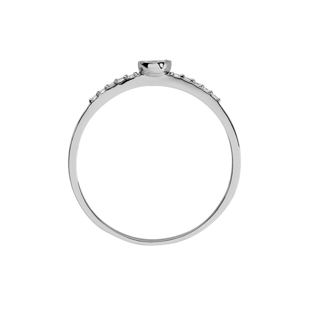 Bague Drop Or Blanc Diamant - Bagues avec pierre Femme   Histoire d'Or
