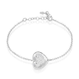 Bracelet Felicia Argent Blanc - Bracelets Coeur Femme   Histoire d'Or