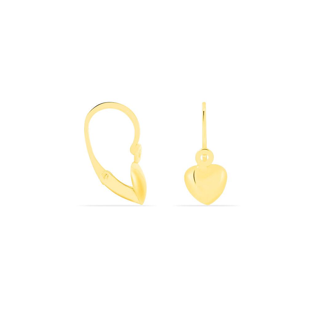 Boucles D'oreilles Pendantes France-marie Coeur Or Jaune - Boucles d'Oreilles Coeur Enfant | Histoire d'Or