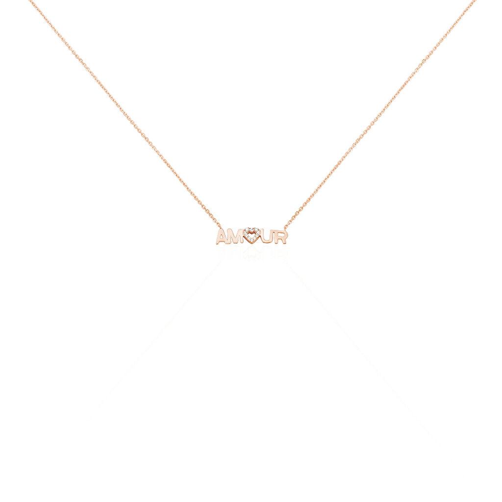 Collier Tomi Or Rose Oxyde De Zirconium - Colliers Coeur Femme | Histoire d'Or