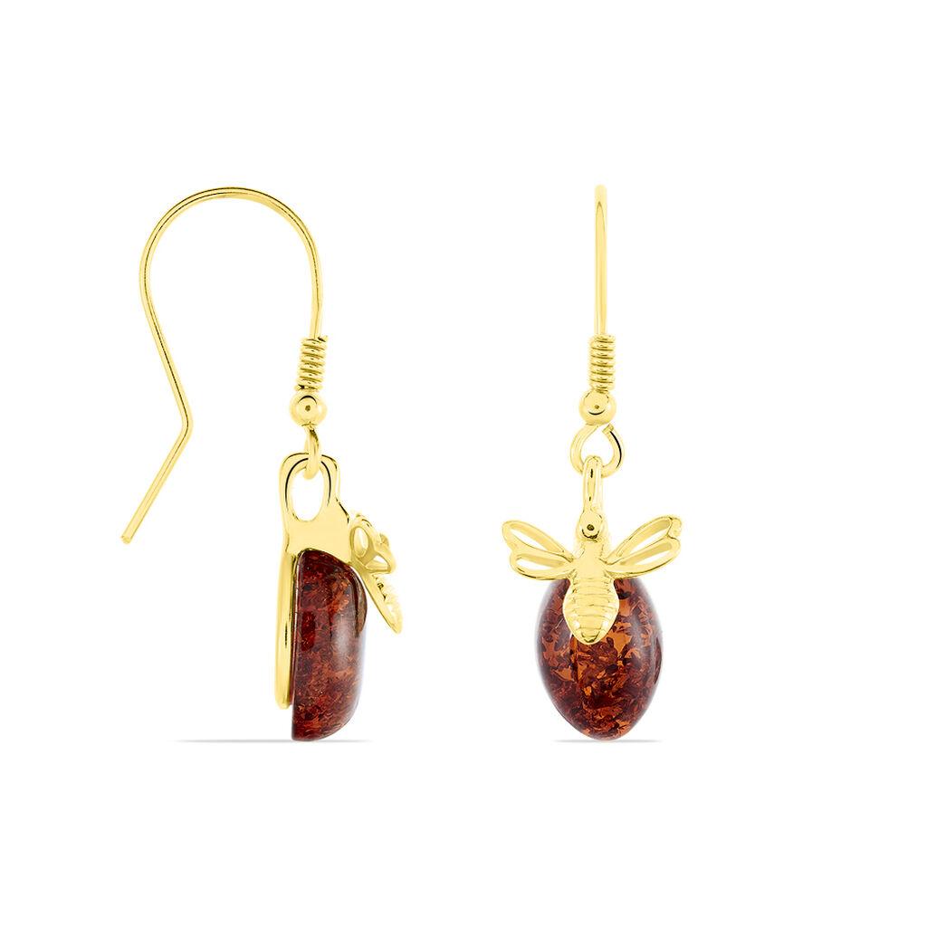 Boucles D'oreilles Pendantes Lyla Argent Jaune Ambre - Boucles d'oreilles fantaisie Femme   Histoire d'Or