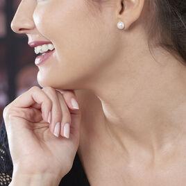 Boucles D'oreilles Puces Kesya Nacres Bouton Or Jaune Perle De Culture - Clous d'oreilles Femme   Histoire d'Or
