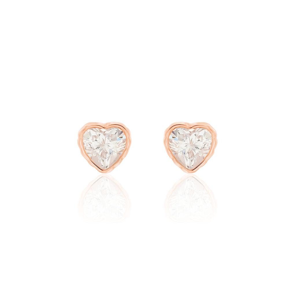 Boucles D'oreilles Puces Kadidjatou Or Rose Oxyde De Zirconium - Boucles d'Oreilles Coeur Femme | Histoire d'Or