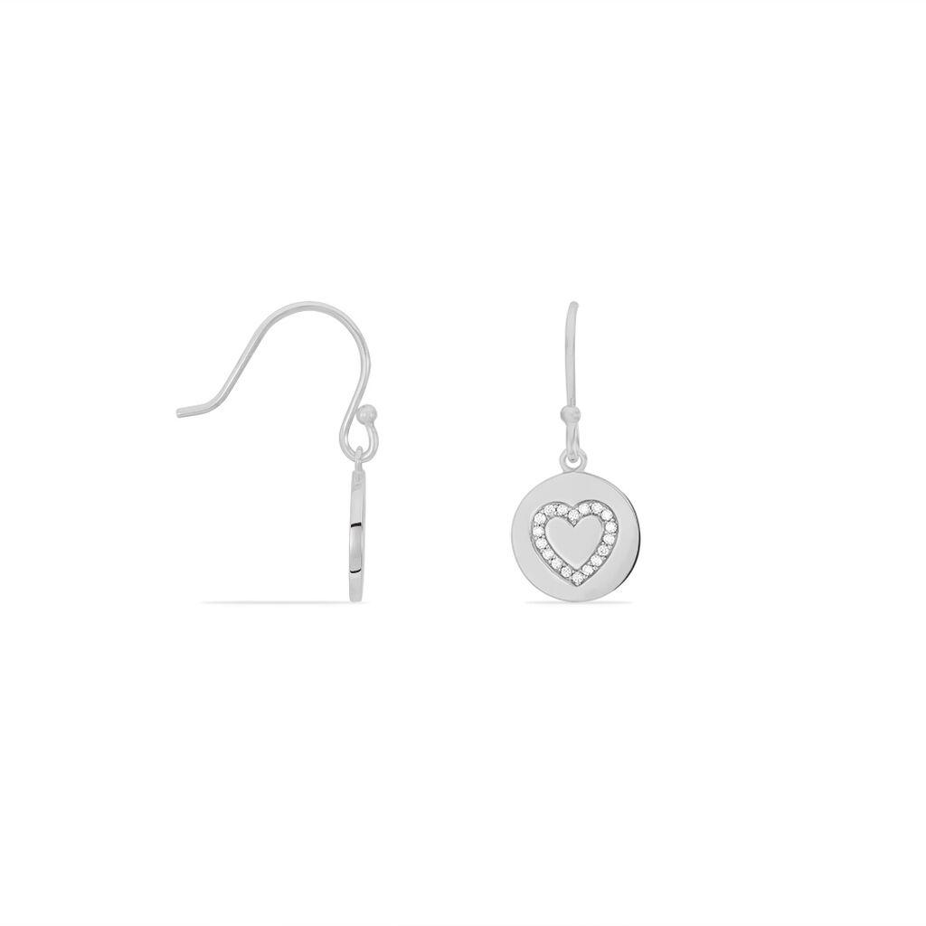 Boucles D'oreilles Pendantes Infinila Argent Blanc Oxyde De Zirconium - Boucles d'Oreilles Coeur Femme | Histoire d'Or