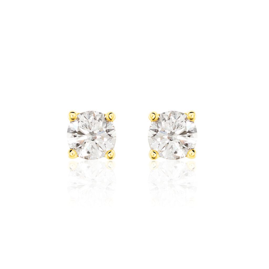 Boucles D'oreilles Puces Victoria Or Jaune Diamant - Clous d'oreilles Femme   Histoire d'Or
