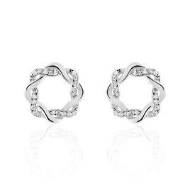 Boucles D'oreilles Pendantes Calandra Argent Blanc Oxyde De Zirconium - Boucles d'oreilles fantaisie Femme | Histoire d'Or