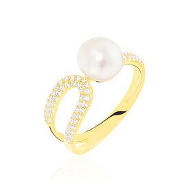 Bague Ka Or Jaune Perle De Culture Et Oxyde De Zirconium - Bagues avec pierre Femme   Histoire d'Or