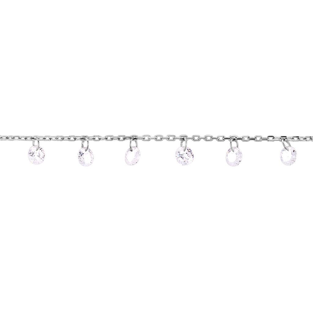 Chaîne De Cheville Carolaine Argent Blanc Oxyde De Zirconium - Chaînes de cheville Femme | Histoire d'Or