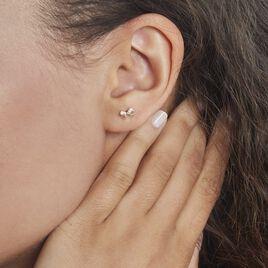 Boucles D'oreilles Puces Or Jaune Brunnera Oxydes De Zirconium - Clous d'oreilles Femme   Histoire d'Or
