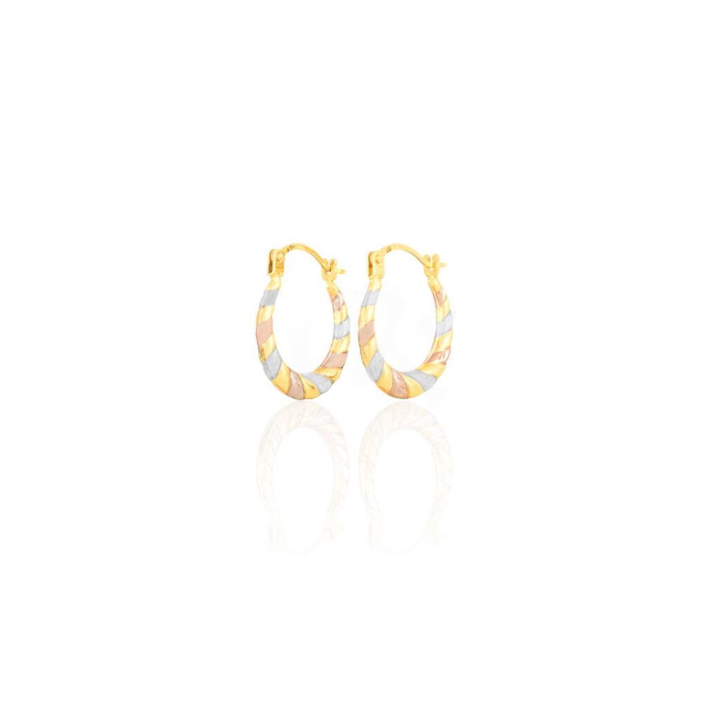 Créoles Rosaura Fil Bombe Or Tricolore - Boucles d'oreilles créoles Femme   Histoire d'Or