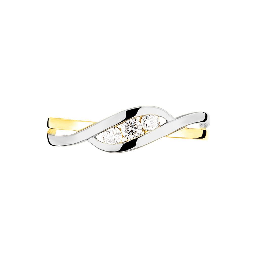 Bague Callie Or Bicolore Diamant - Bagues avec pierre Femme   Histoire d'Or