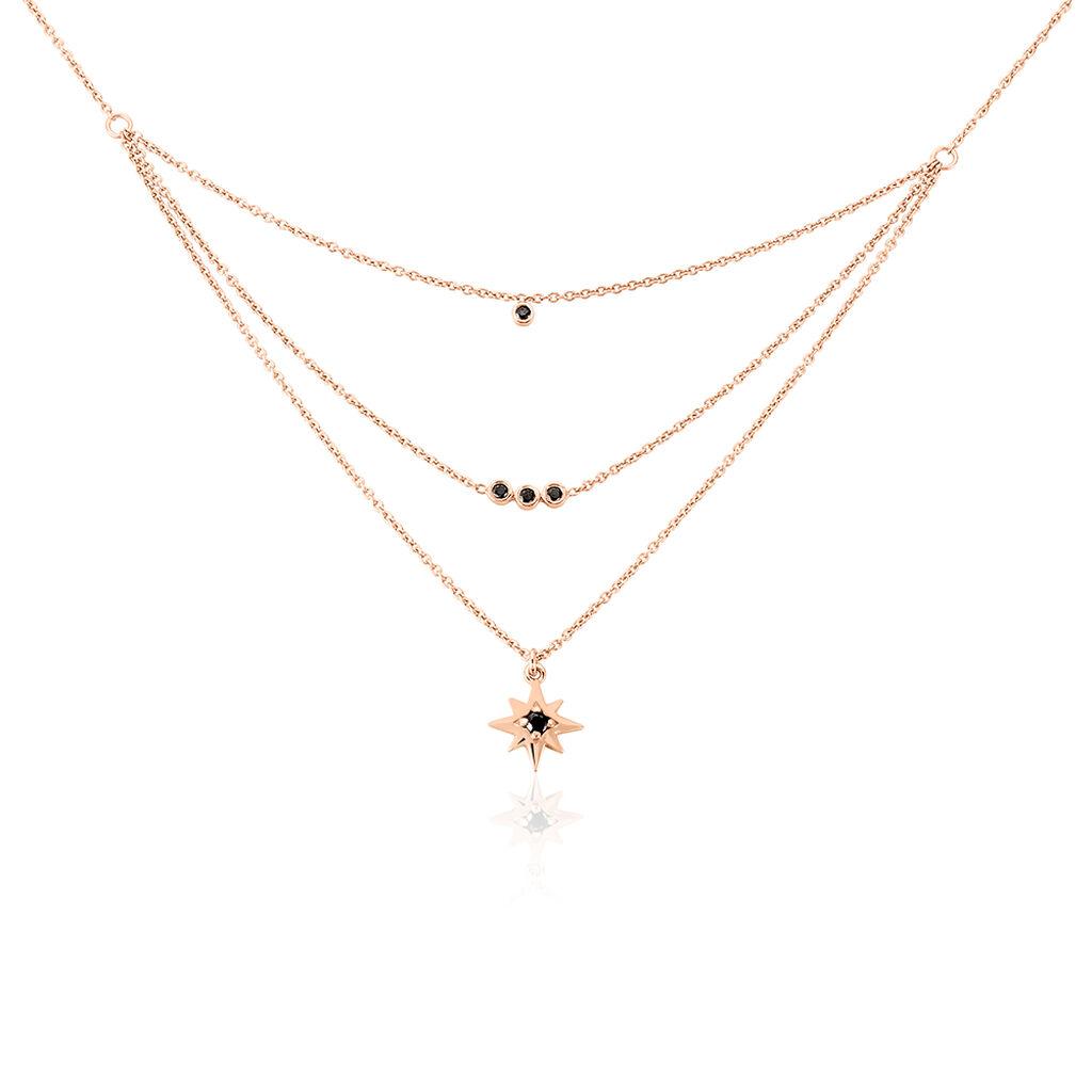 Collier Evora Argent Rose Oxyde De Zirconium - Colliers Etoile Femme   Histoire d'Or