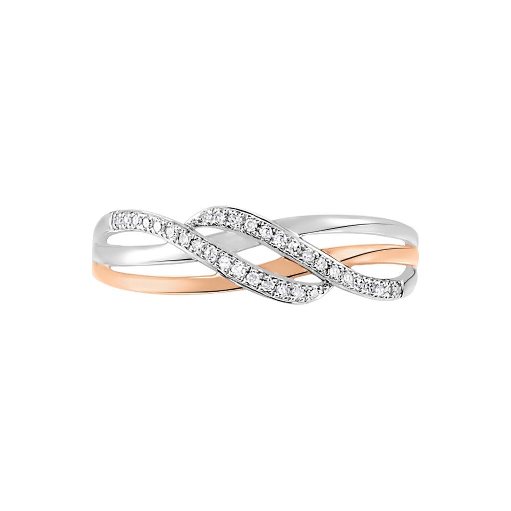 Bague Zinna Or Bicolore Diamant - Bagues avec pierre Femme   Histoire d'Or