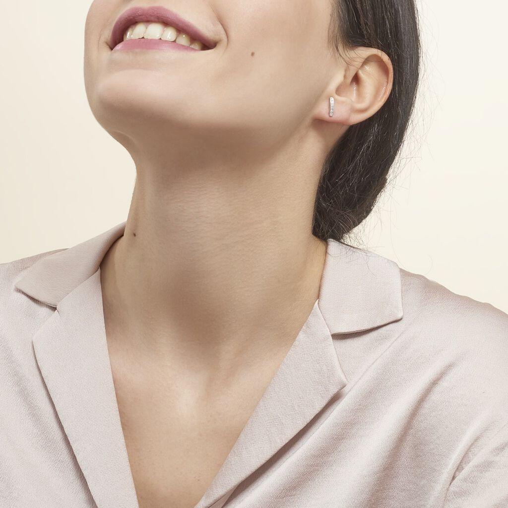 Créoles Callyste Rondes Argent Blanc Oxyde De Zirconium - Boucles d'oreilles fantaisie Femme   Histoire d'Or