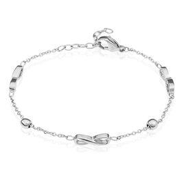 Bracelet Acier Boules Motifs Infinis - Bracelets Infini Femme | Histoire d'Or