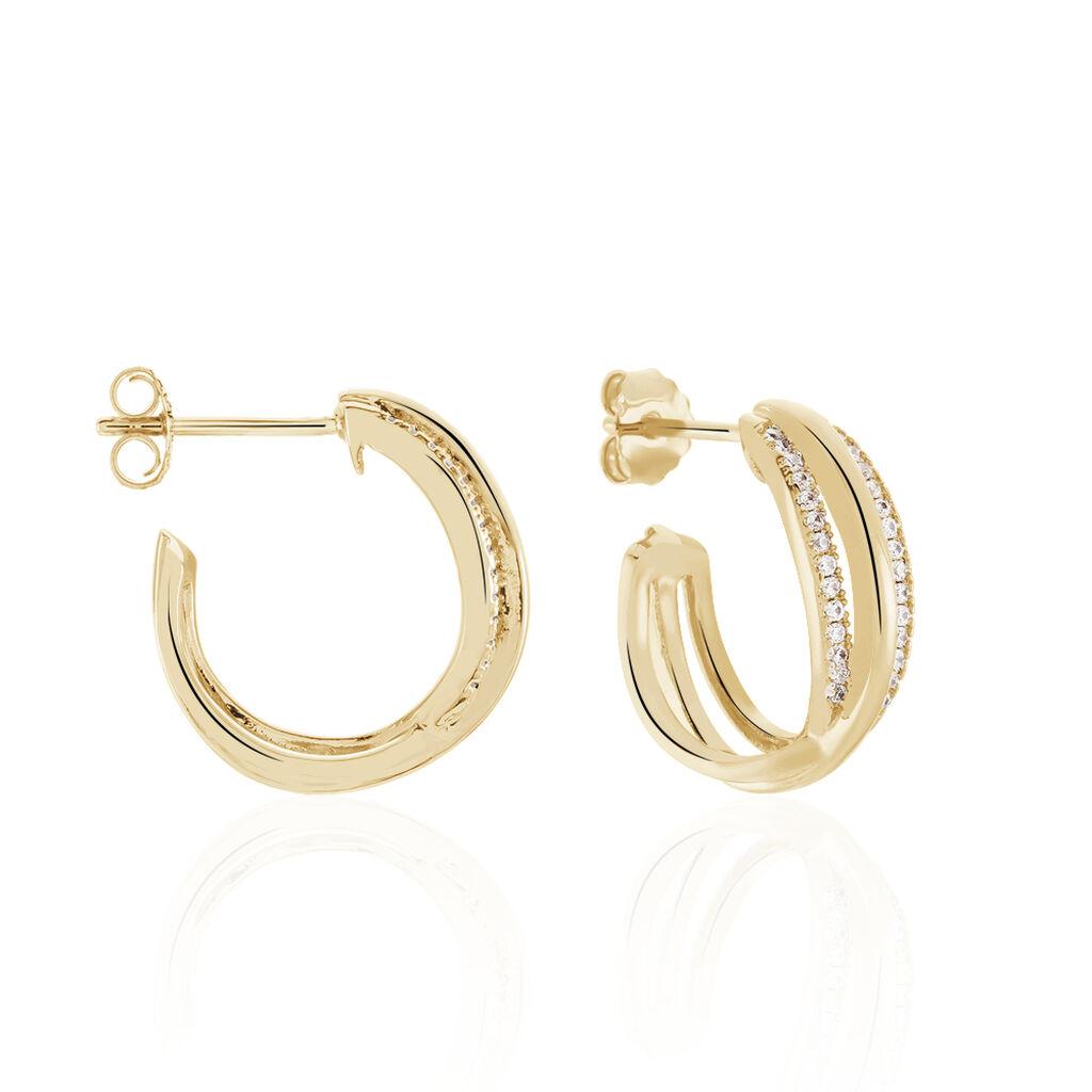 Créoles Marceline Rondes Plaque Or Jaune Oxyde De Zirconium - Boucles d'oreilles créoles Femme   Histoire d'Or