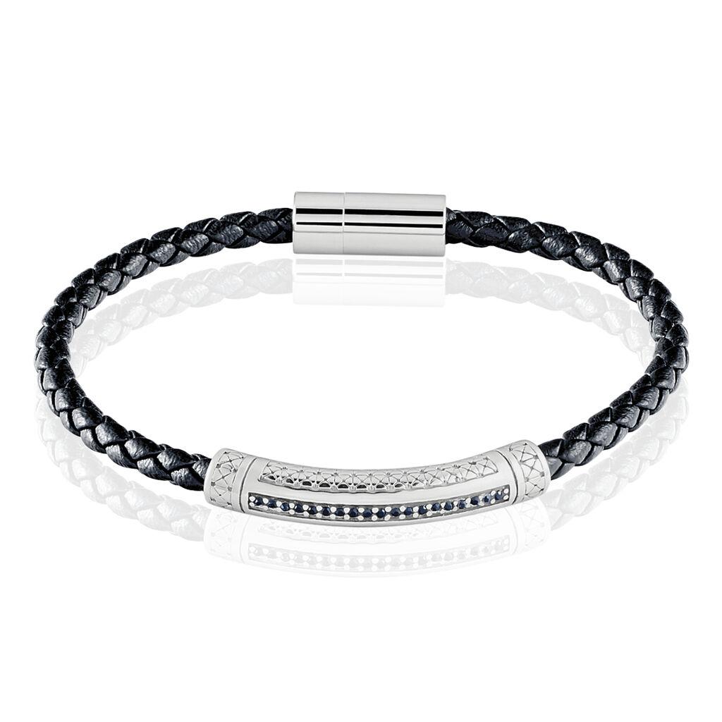 Bracelet Steph Acier Blanc Oxyde Noir - Bracelets fantaisie Homme | Histoire d'Or