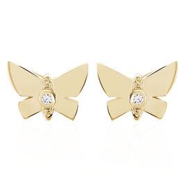 Boucles D'oreilles Puces Lili Plaque Or Jaune Oxyde De Zirconium - Boucles d'Oreilles Papillon Femme | Histoire d'Or