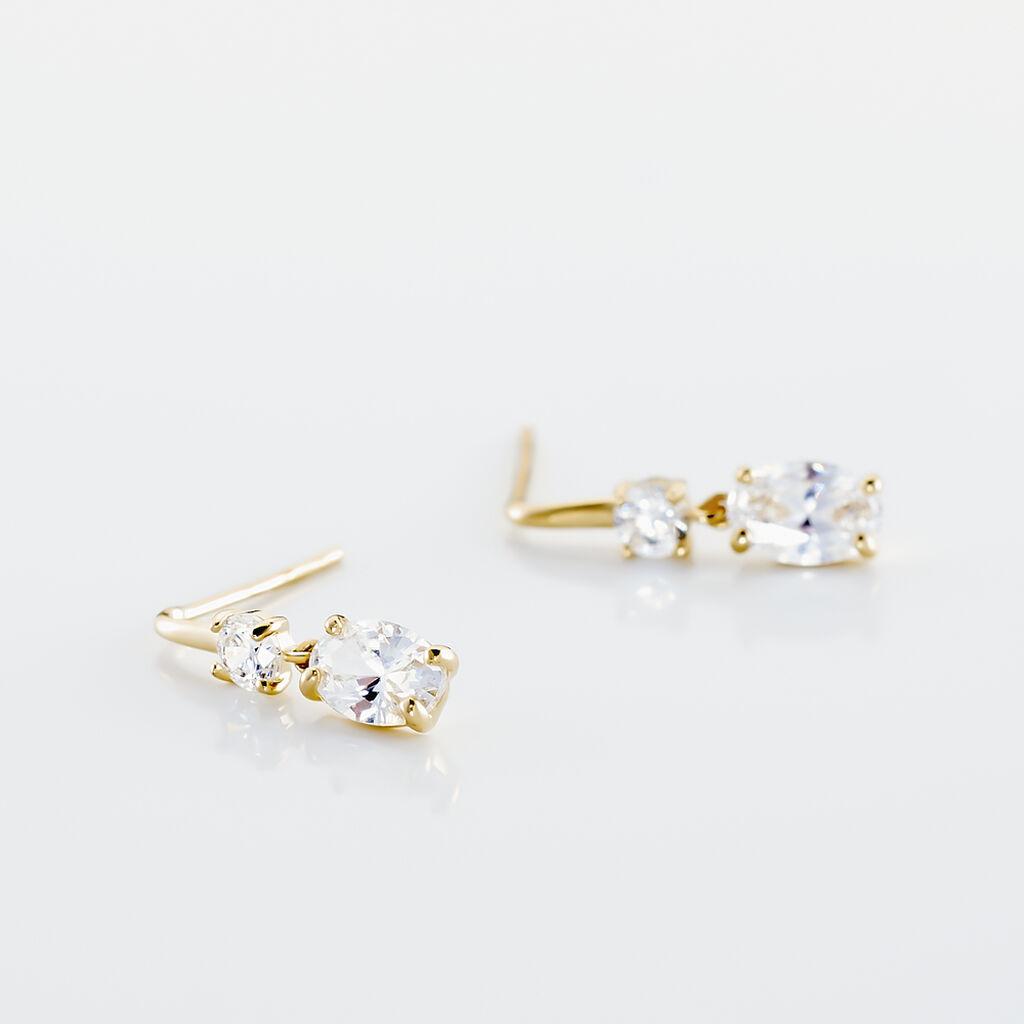 Boucles D'oreilles Pendantes Gulbeyaz Or Jaune Oxyde De Zirconium - Boucles d'Oreilles Etoile Femme | Histoire d'Or