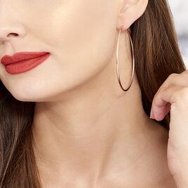 Creoles Argent Rose Flexibles - Boucles d'oreilles créoles Femme | Histoire d'Or