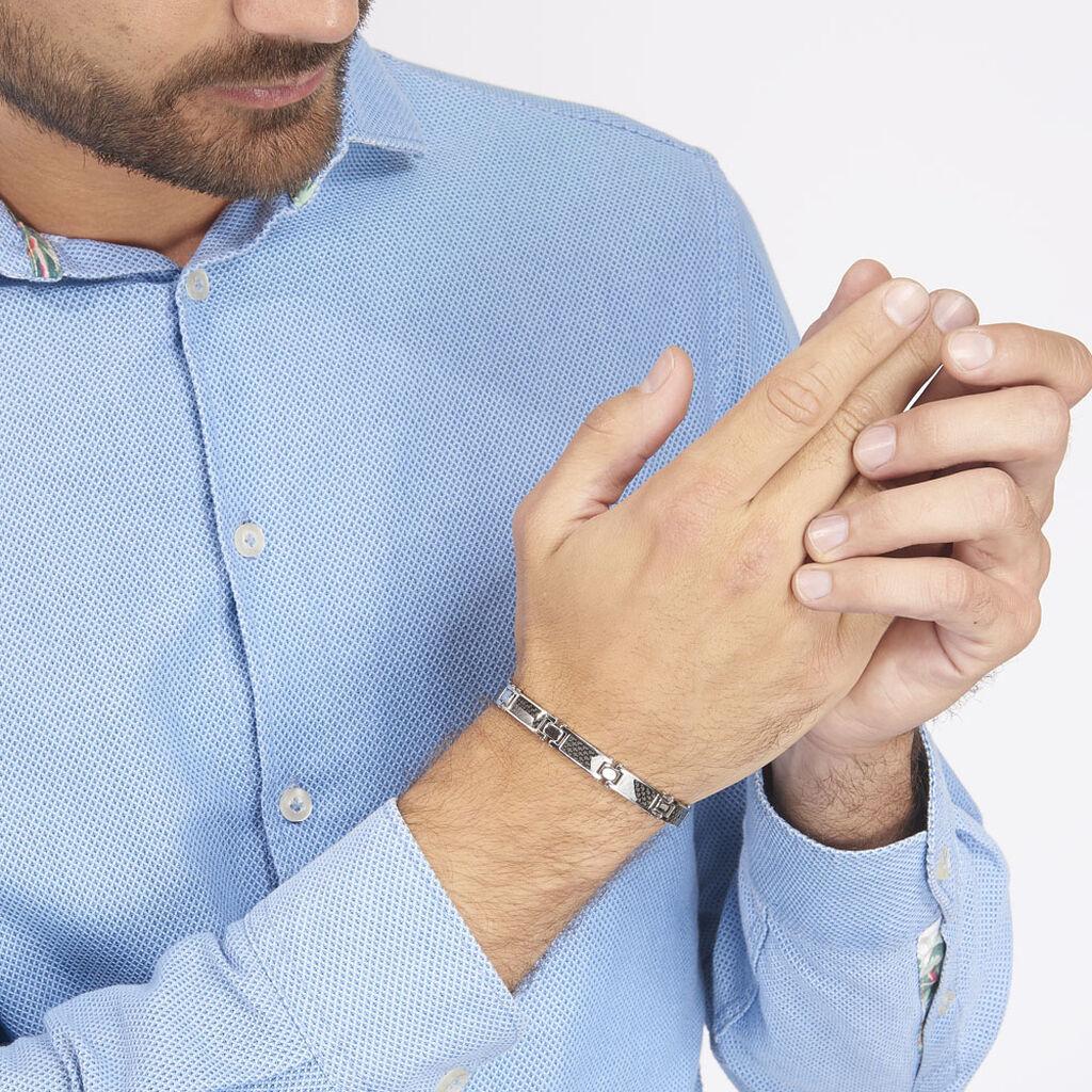 Bracelet Achille Acier Blanc - Bracelets fantaisie Homme   Histoire d'Or