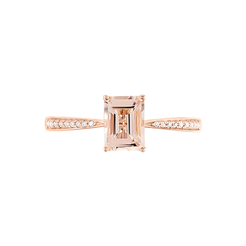 Bague Solitaire Cilly Or Rose Morganite Et Diamant