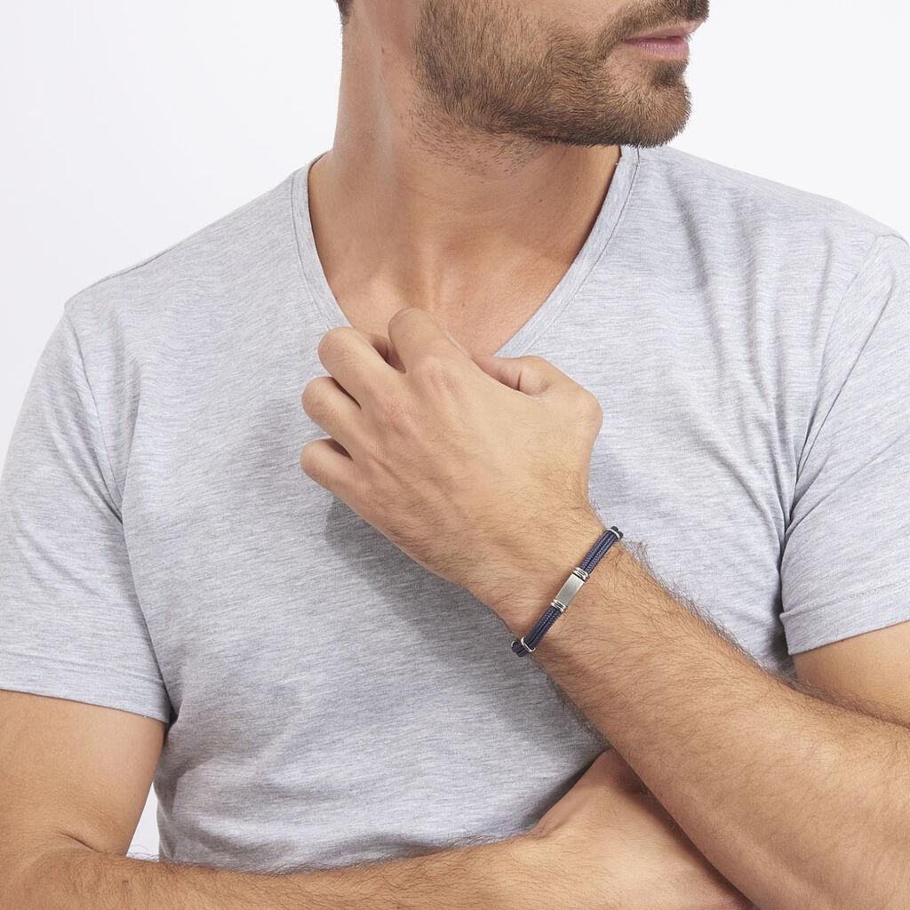 Bracelet Yannik Acier Blanc - Bracelets cordon Homme   Histoire d'Or